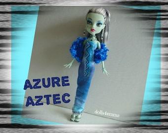 Monster High Doll Clothes - Custom Handmade Fashion - Blue Plush Boa Shimmery DRESS and JEWELRY Set - by dolls4emma