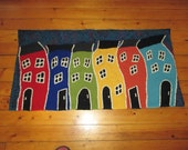 Rug Hooked Wall Hanging of Jelly Bean Row