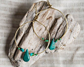 Himalayan Turquoise Brass Hoops