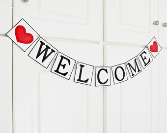FREE SHIPPING, Welcome banner, Welcome sign, Deployment homecoming, Welcome home daddy, Welcome home baby, Photo prop garland, Red hearts