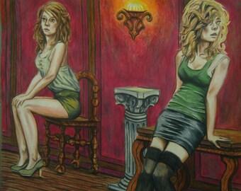 Another Night in New Orleans - Original artwork - Colored pencil - Wall decor - Female art - Erotic art - Realism - Pencil artwork - Artwork