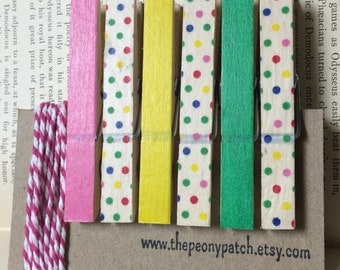 Pink, Green, Yellow and Confetti Covered Clothespins, Washi Covered Clothes Pins, Photo String