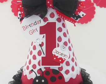 Lil' Ladybug Birthday Party Hat - Red, Black and White - Personalized