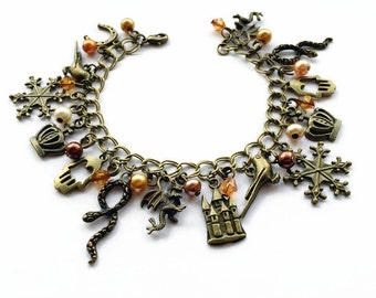 Game of Thrones Inspired Vintage Gold Charm Bracelet