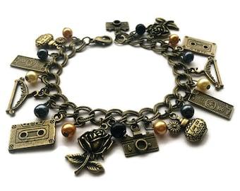 Clueless Inspired Vintage Gold Charm Bracelet
