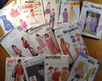 Children's Clothing Sewing Patterns - lot of 12