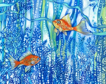 Fine art print, Goldfish in blue seaweed, blues, oranges,children's room, seaweed, abstract, tropical, colourful, decorative, wall decor...