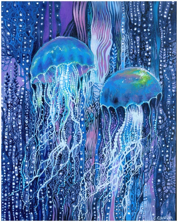 Jellyfish art print jellyfish dreams blues purples beach for Jelly fish art