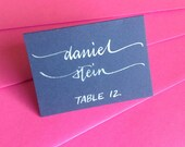 Navy Blue PLACE cards and ESCORT cards in Custom Calligraphy for Wedding, Bridal and Baby Shower, Bar and Bat Mitzvah, and Special Occasion