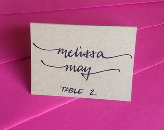 Kraft PLACE cards and ESCORT cards in Custom Calligraphy for Wedding, Bridal and Baby Shower, Bar and Bat Mitzvah, and Special Occasion