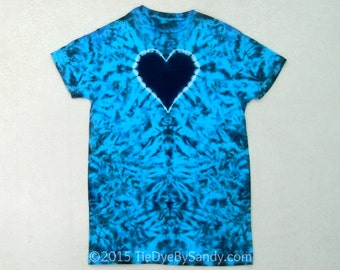 Small Black and Blue Heart Tie Dye Shirt
