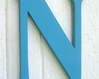 Wooden letters 18 inch serif letter N Turquoise Kids Wall Art Wall Decor Shower Gifts