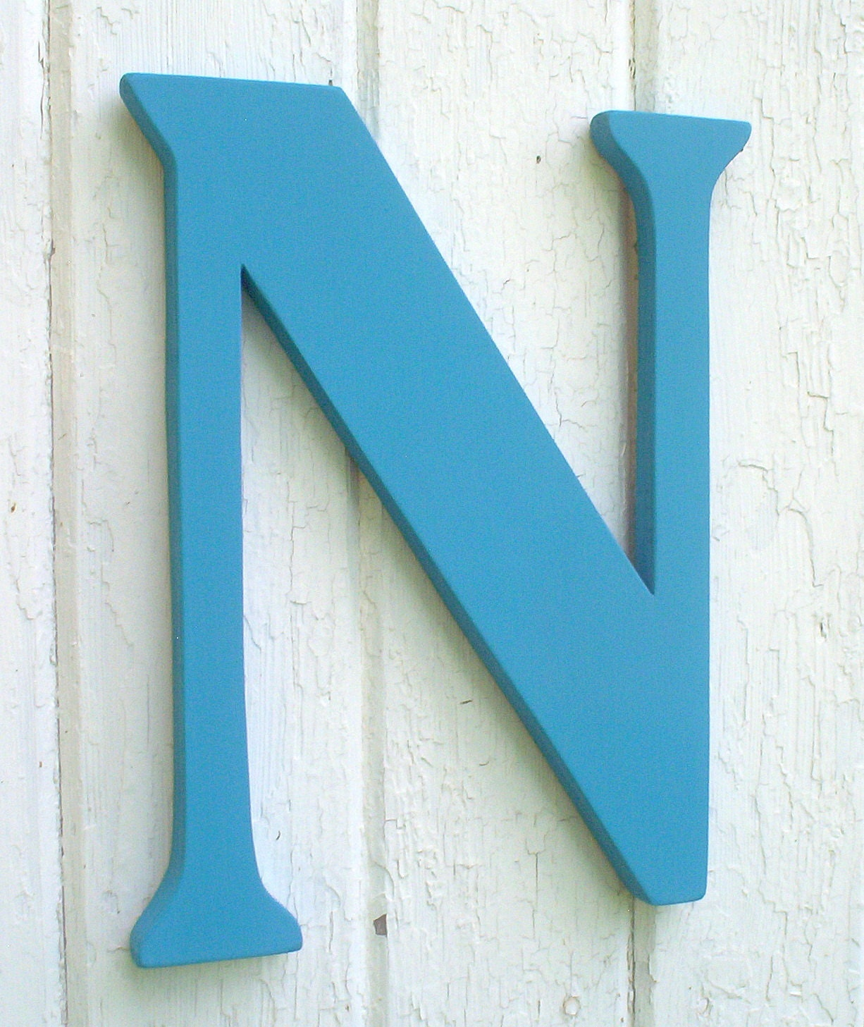Wooden letters 18 inch serif letter n turquoise kids wall art for 3 inch wooden letters