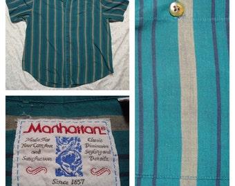 Vintage Retro Men's Manhattan Green Black Grey Striped Buttonup Short Sleeve Shirt XL