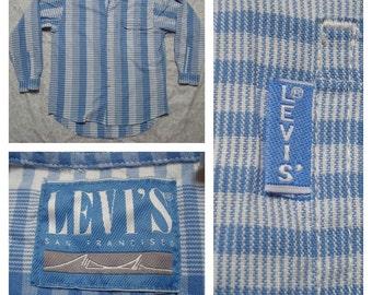 Vintage Men's Levi's San Fransisco Blue White Plaid Buttonup Long Sleeve Shirt Medium