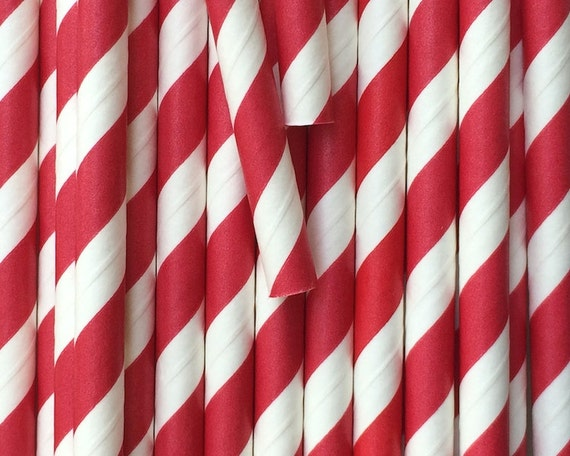 25 Red Paper Straws - Drinking Straws - Baking Candy Making Craft Party Supplies