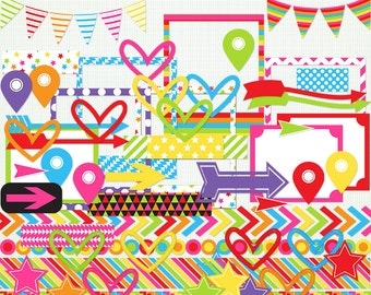 Rainbow Days - Clipart and Elements  -   Scrapbooking - Sticker Making - for Personal and Commercial -  Instant Download G7813