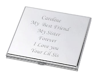 Personalized Silver Square Compact Mirror Custom Engraved Free