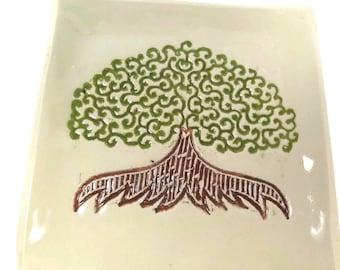 Rustic Tree Dish, Nature Decor, Tree of Life Dish, Small Trinket Dish, Sacred Tree Plate, Incense Plate, Tree Kitchen Decor,Modern Tree Dish