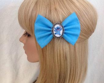 LILO and Stitch hair bow clip rockabilly psychobilly disney princess kawaii pin up fabric blue cute ladies girls women