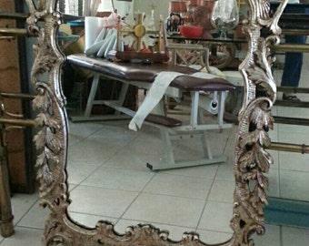 Hollywood Regency Vintage  Wood Carved Italian Mirror Silver Gilt Estate Fresh Wall Decor