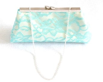 Bridesmaid Gift Clutch, Aqua Blue And Ivory Bridal Clutch, Mother Of The Bride Gift, Wedding Clutch, Bridal Shower Gift, Gifts For Her
