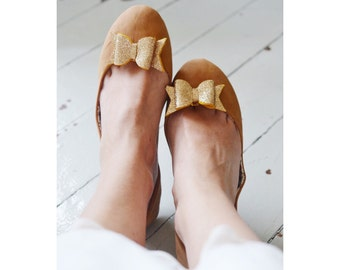 Gold Fine Glitter Bow Shoe Slips, Golden Glitter Bow Shoe Clips, Gold Glitter Wedding Shoeclips