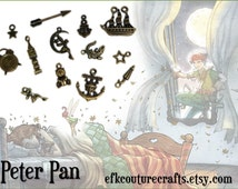 SALE - Peter Pan Fairy Tale Children's Charms in Antiqued Bronze Assortment Mix Set (30)