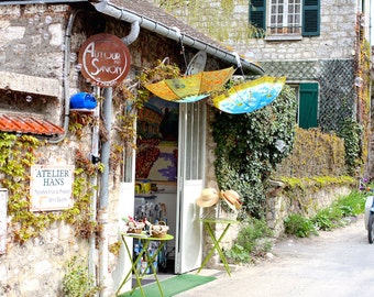 Charming boutique with umbrellas scooter, Fine art France photography, Monet's Garden photography,  travel image, wall decor