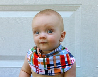 Baby Drool Bib, Colorful Madras Plaid Cotton with Organic Bamboo Terry
