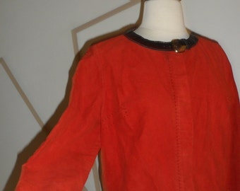1950s red suede imported holland suede woven for petti unique collar cropped  design down sleeves  front metal zipper