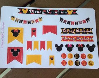 Disney Vacation Stickers For Planner, Erin Condren, Filofax, Scrapbooking
