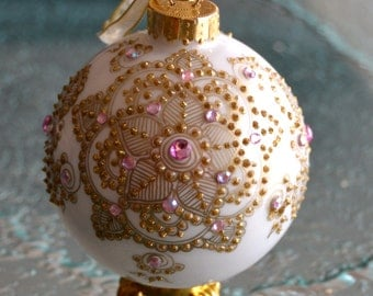 Handpainted Ornament White and Gold Ornament with Pink Crystals, Bridal Gift, Hand Painted Ornament, Bridal Shower Gift, Bridal Party Gift