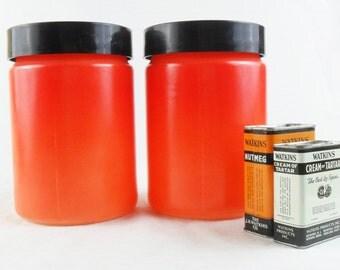 Vintage Milk Glass Canister * Orange * Kitchen Storage* 2 Quart Capacity * Set of 2