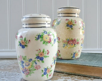 Vintage Pretty Salt Pepper Shaker Set - Large Antique with Flowers Japan