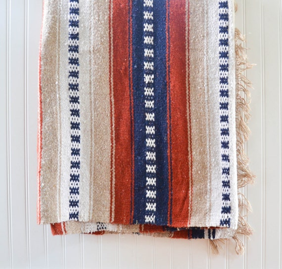 Vintage Mexican Zapotec Rug In Small Size With Stylized: Vintage Mexican Wool Blanket Large Serape Saltillo Rug Throw