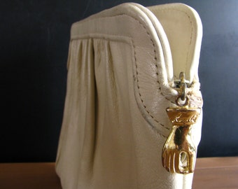 Mid Century Ande Clutch with Cute Gold Hand Charm