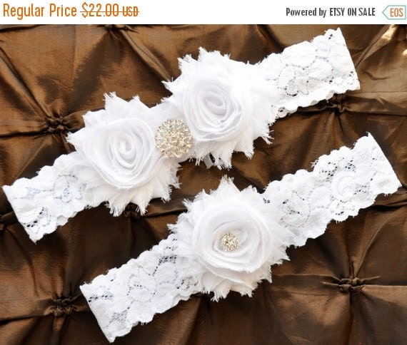 White Wedding Garter: SALE White Wedding Garter, Bridal Garter Set