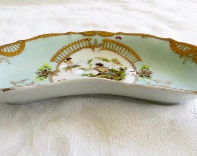 Vintage Cherub Dish Plate Handpainted Cherubs and Maiden Plate French Style Angels Aquamarine Blue