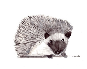 Hedgehog painting hedgehog art woodland animal art 12 x 9 inches one of a kind