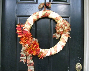 Fall Straw Wreath, Autumn Straw Wreath, Pumpkin Straw Wreath, Door Wreath, Eucalyptus Wreath, Pumpkin Wreath, Orange Wreath