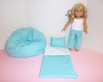 Fits American Girl Doll Aqua Dots Sleeping Bag Pajamas And Bean Bag 277