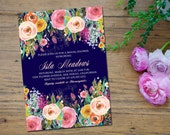 Floral Bridal Shower Invitation, Wedding Shower Invitation, Floral Invitation, Graduation Invitation, Engagement Party - Isla