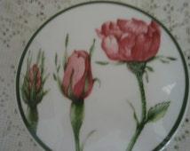 Porcelain Dresser Box with Roses,Vanity Box,jewelry box,trinket box,stash box,keepsake box,pin box,gift box