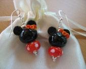 Halloween Earrings, Disney Cruise Earrings, Minnie Halloween Earrings, Halloween Disney Jewelry, Orange Black White, Handmade Lampwork Mice