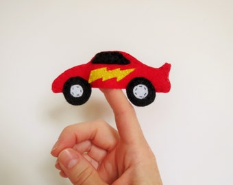 Racecar Finger Puppet, Racecar, Finger Puppet, Racecar Puppet, Felt Toy, Soft Toy, Handmade Toy, Stocking Stuffer, Party Favor,Car  Puppet