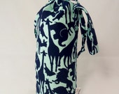 Navy Animals on Mint Padded Drop Spindle Bag / Spinning Project Bag or Wine Tote