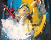 """Yellow Blue Figure Poetic Painting, Original Contemporary Art, Abstract Huge Painting 48"""" x 79"""""""
