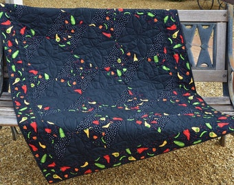 Lap Quilt, Quilted Throw, Sofa Throw, Wheelchair Quilt, Wall Hanging, Blanket, Throw, Black, red, green, yellow, gold, white.
