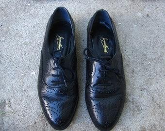 Vintage Black Leather Oxford Flats Womans 6.5